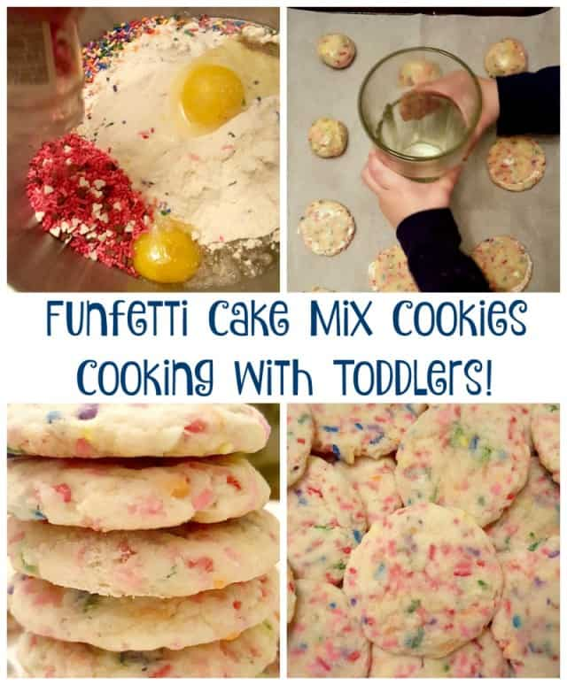 funfetti cookie cake mix toddler cooking