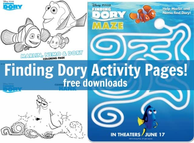 finding dory free printable activity pages