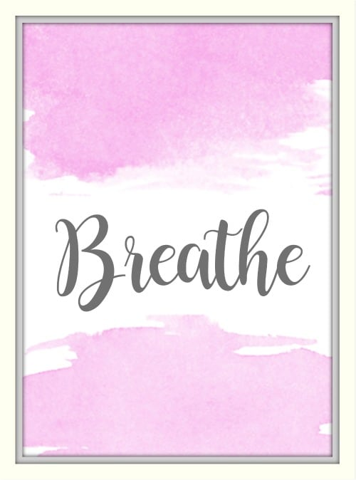 pink breathe watercolor background printable
