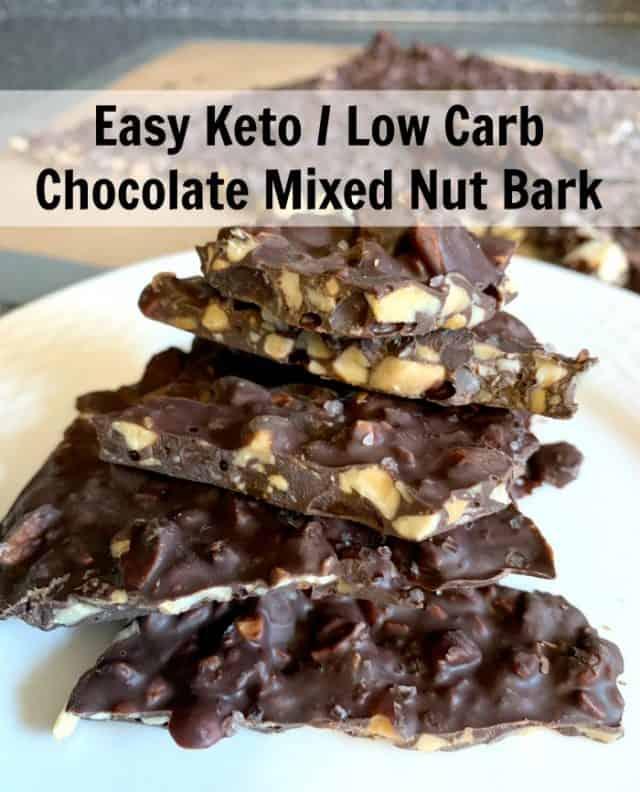 chocolate nut bark keto low carb pin