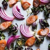 Chicken Sausage, Kalette, and Red Onion Sheet Pan Supper