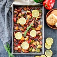 Sheet Pan Roasted Sausage & Potatoes with Peppers Recipe