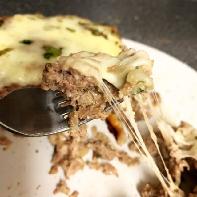 bite of keto cheese stuffed meatloaf