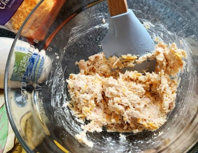mix tuna cake ingredients in a bowl