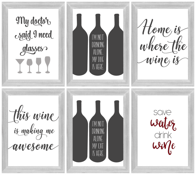 collage of wine printables in frames