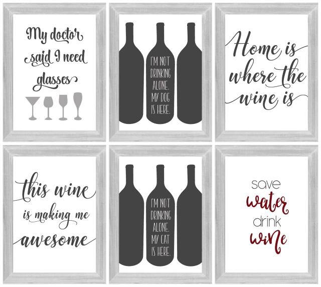 wine printables framed home decor