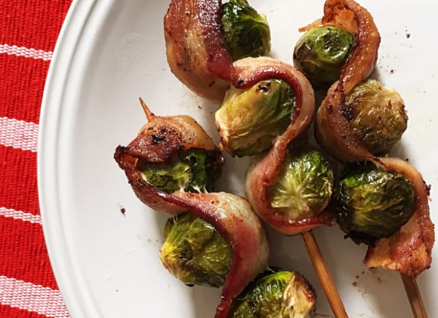 Bacon Brussels Sprouts Kabobs / Keto / Whole 30
