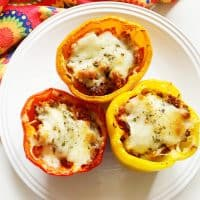 Keto Stuffed Peppers with Pepperoni