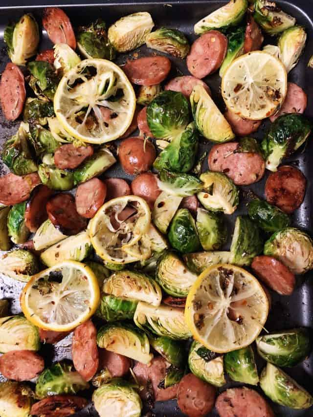 sausage and brussels sprouts sheet pan baked