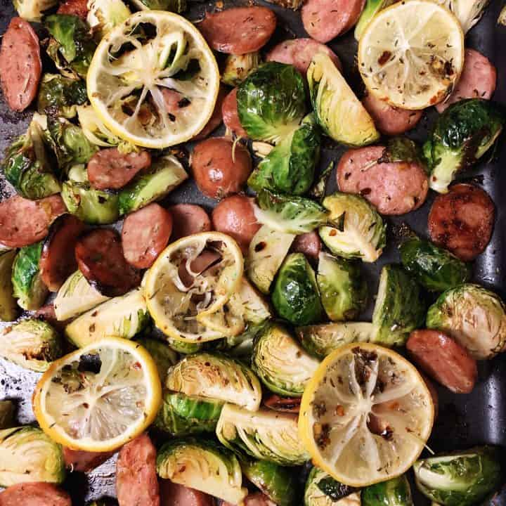 Seasoned Brussels Sprouts and Sausage Sheet Pan Dinner