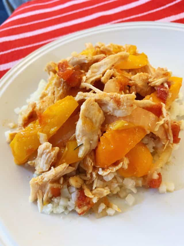 chicken fajitas in instant pot on plate