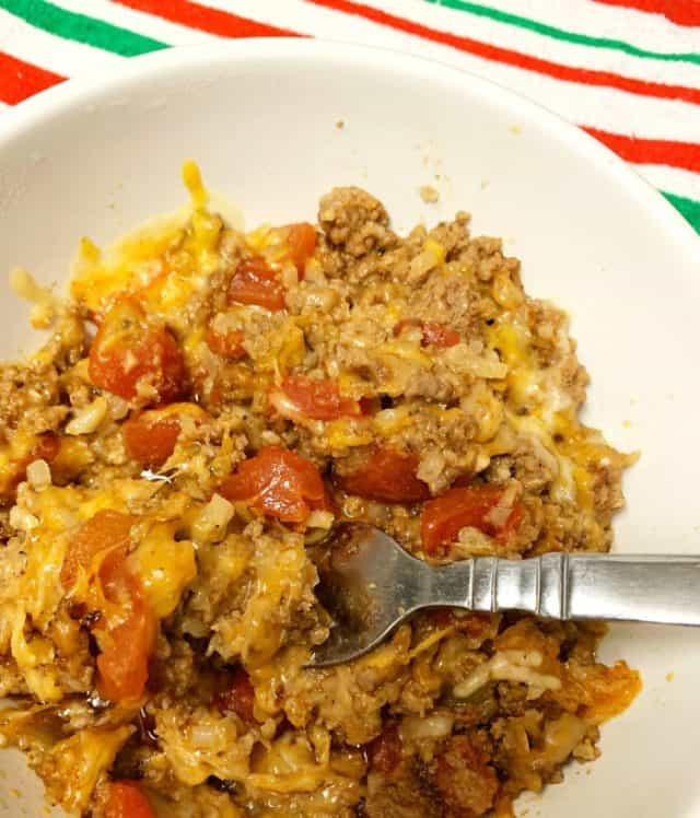 taco casserole beef cheese in bowl