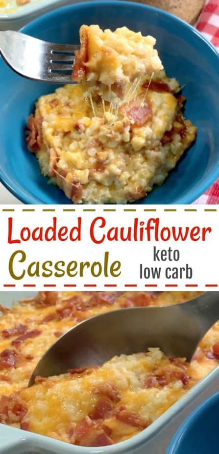 loaded cauliflower casserole keto pin