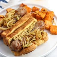 Sheet Pan Bratwurst and Sweet Potatoes