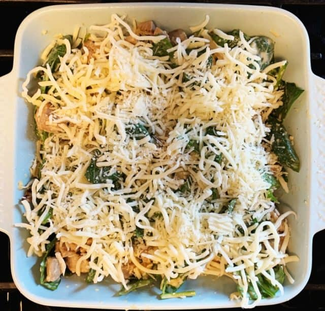 sausage spinach casserole ready to bake
