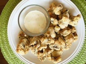 side view of air fryer mushrooms keto