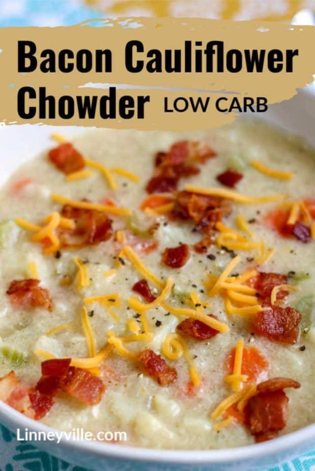 low carb bacon cauli chowder pin