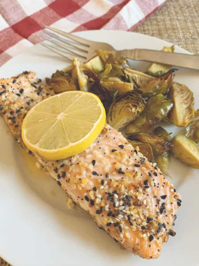 plate of salmon and sprouts