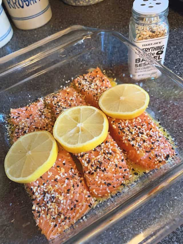 salmon in pan ready to bake