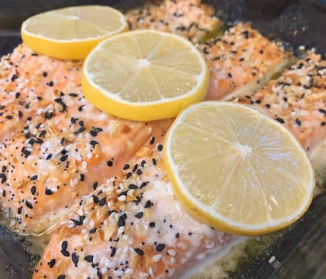 side view of baked salmon