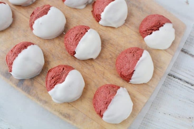 Scrumptious Dipped Red Velvet Cookies With Cake Mix Base