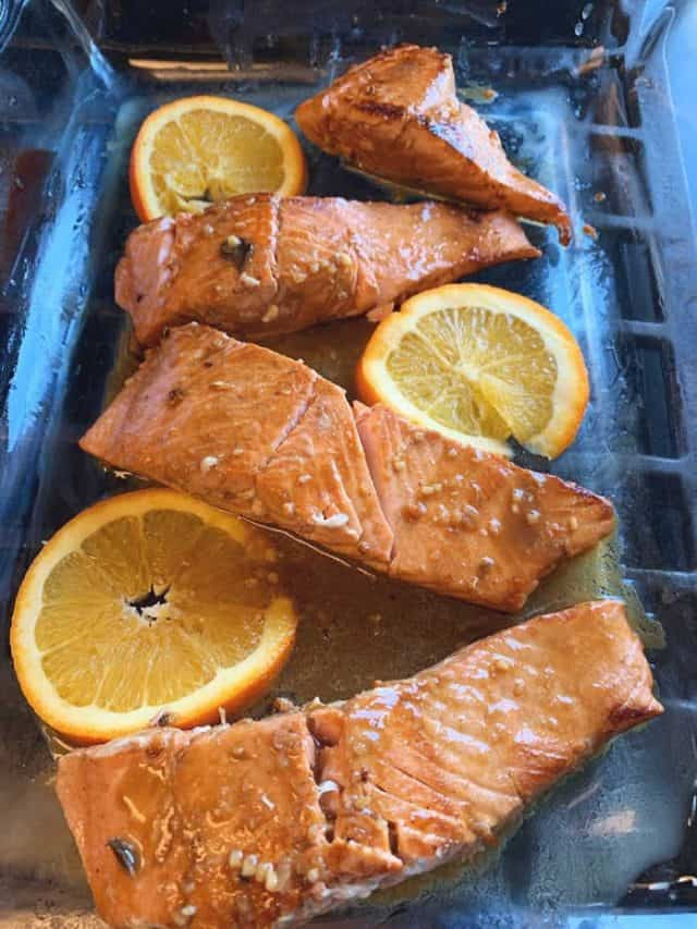 baked salmon in the pan