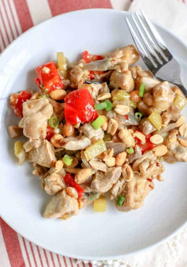plate of Kung Pao Chicken