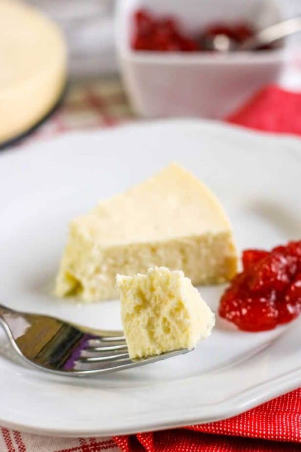 bite of low carb cheesecake