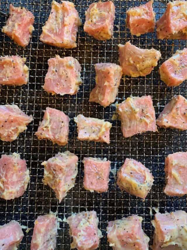 butter steak bites in air fryer basket