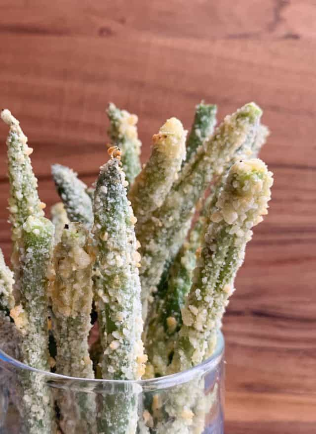 green bean fries in glass